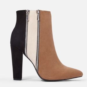 Colorblock Zipper Suede Pointed Ankle Booties 9